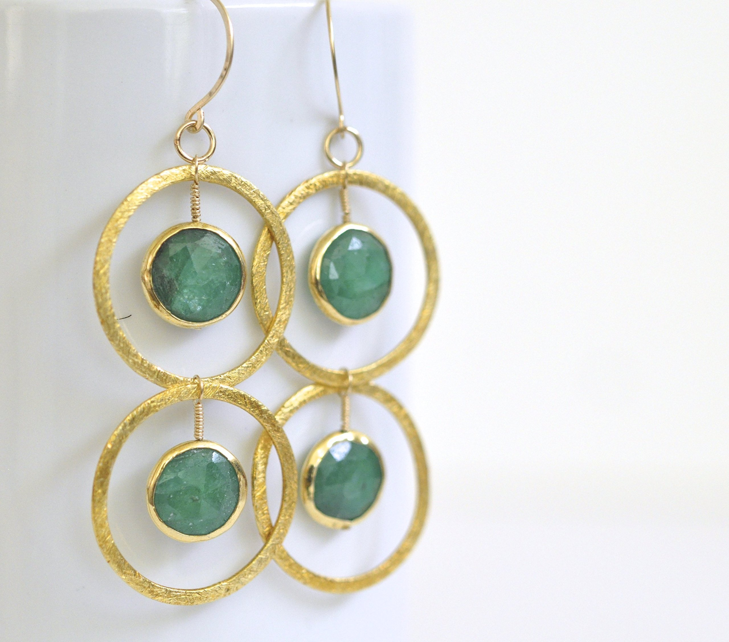 Genuine Emerald Earrings - Gold Vermeil Circle Earrings - 14k Gold Filled Earrings - May Birthstone