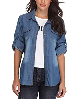 5fc9bdcb75c MISS MOLY Denim Shirt Women Washed Rolled up Sleeve Jean Tops w 2 Chest  Flap Packets