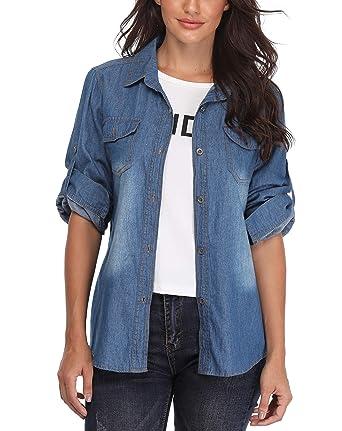 80bfc94fbf Frauen Blusen und Shirts Damen Denim Oberteile mit Langen Ärmeln Knöpft  Basic Workwear Brustklappen Taschen Solid
