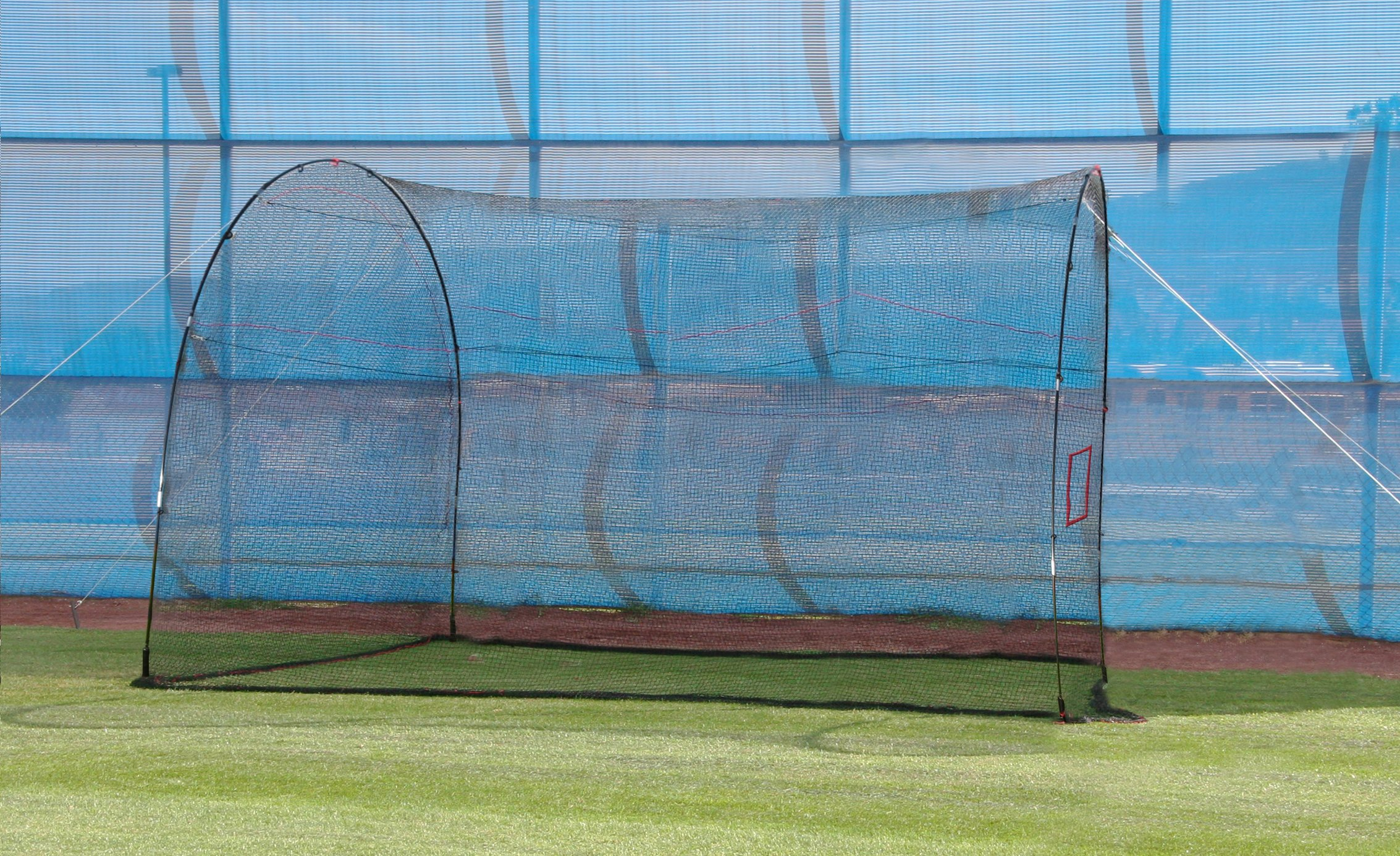 HEATER SPORTS HomeRun Baseball and Softball Batting Cage Net and Frame, With Built In Pitching Machine Square (Machine NOT Included) Home Run Batting Cage by Heater Sports