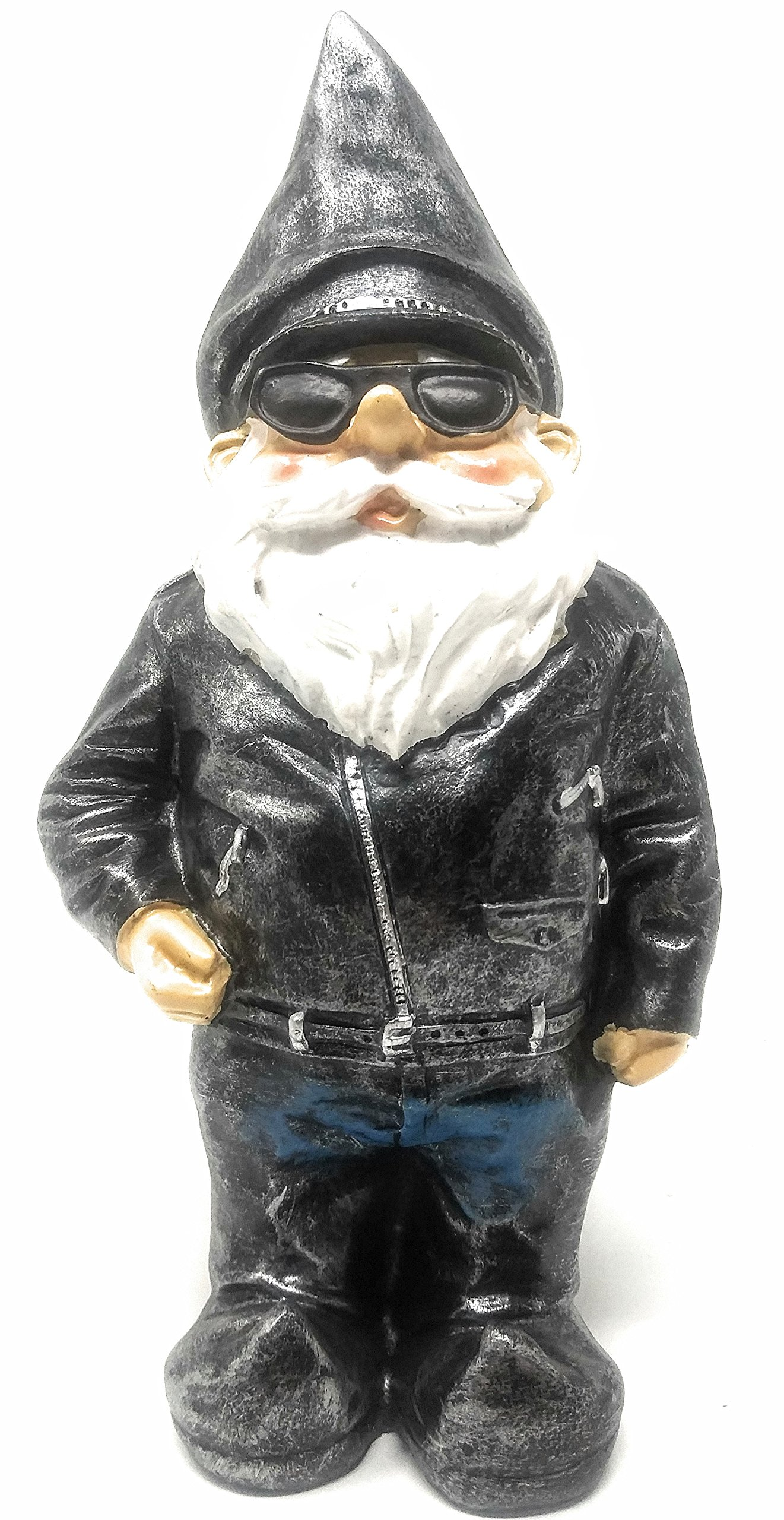 """Biker Garden Gnome Statue, Beautiful Attractive,Outdoor Garden Statute Dressed Smartly In Motorcycle Leather Jacket – Perfect Garden Display, Cool Idea For Your Yard Or As Gift, 8-3/4"""" High"""
