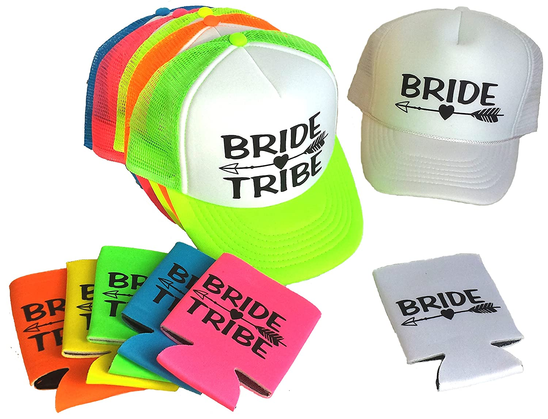 Amazon.com  Bride Tribe Set Snapback Mesh Trucker Hat Cap Team Bride  Bachelorette Can Cover  Clothing 69522d6fb861