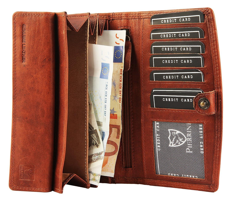 a8809c02cc1be Pierrini PR0005 Echtleder Damen Portemonnaie Vintage Stil Brieftasche Braun  3x10x16 Zentimeter  Amazon.de  Koffer