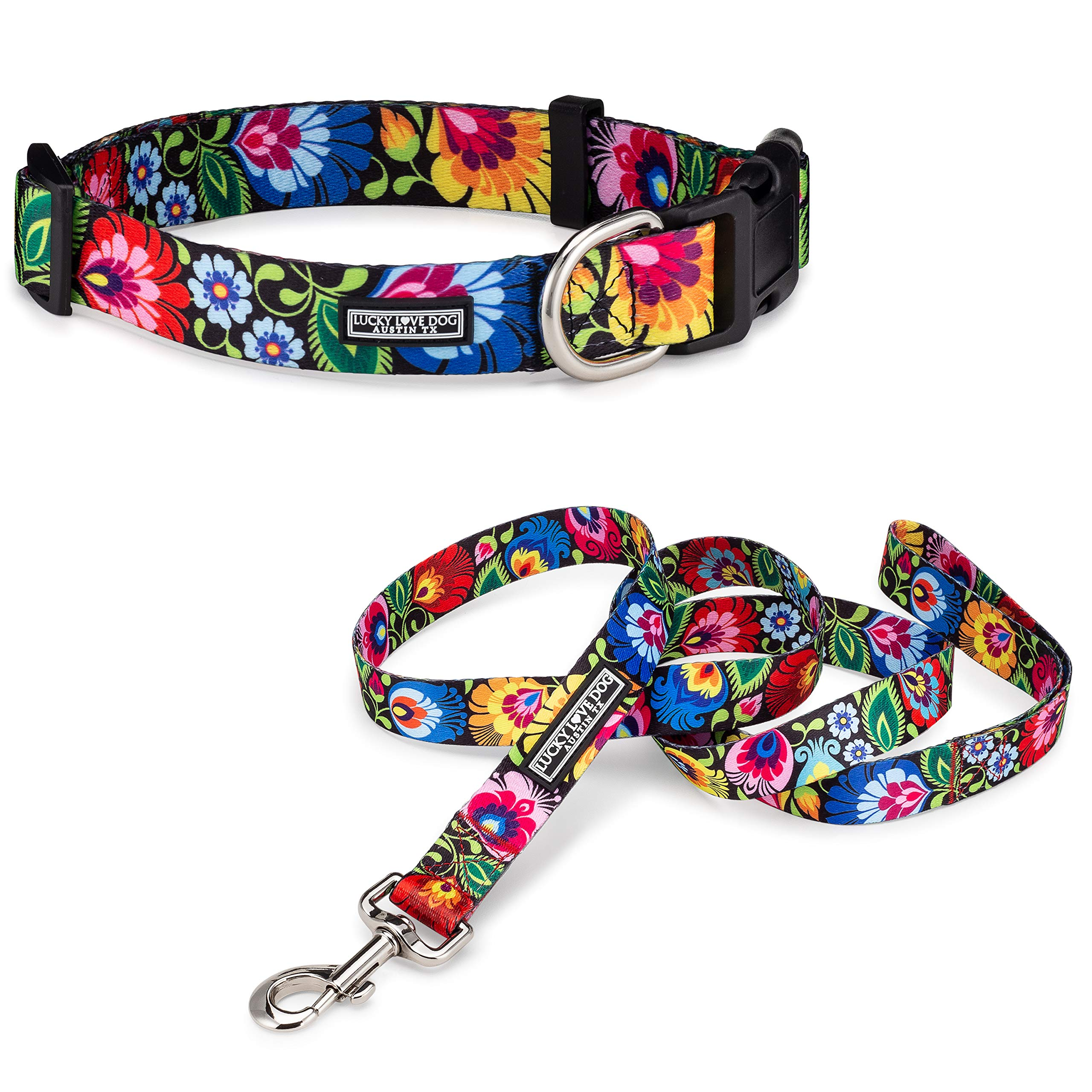 Lucky Love Dog Collars & Leash Sets | Floral Dog Collar | Female Dog Collar | Flower Dog Collar | Part of Purchase Donated to Dog Rescue (Blackbird Collar/Leash Combo, Small) by Lucky Love Dog