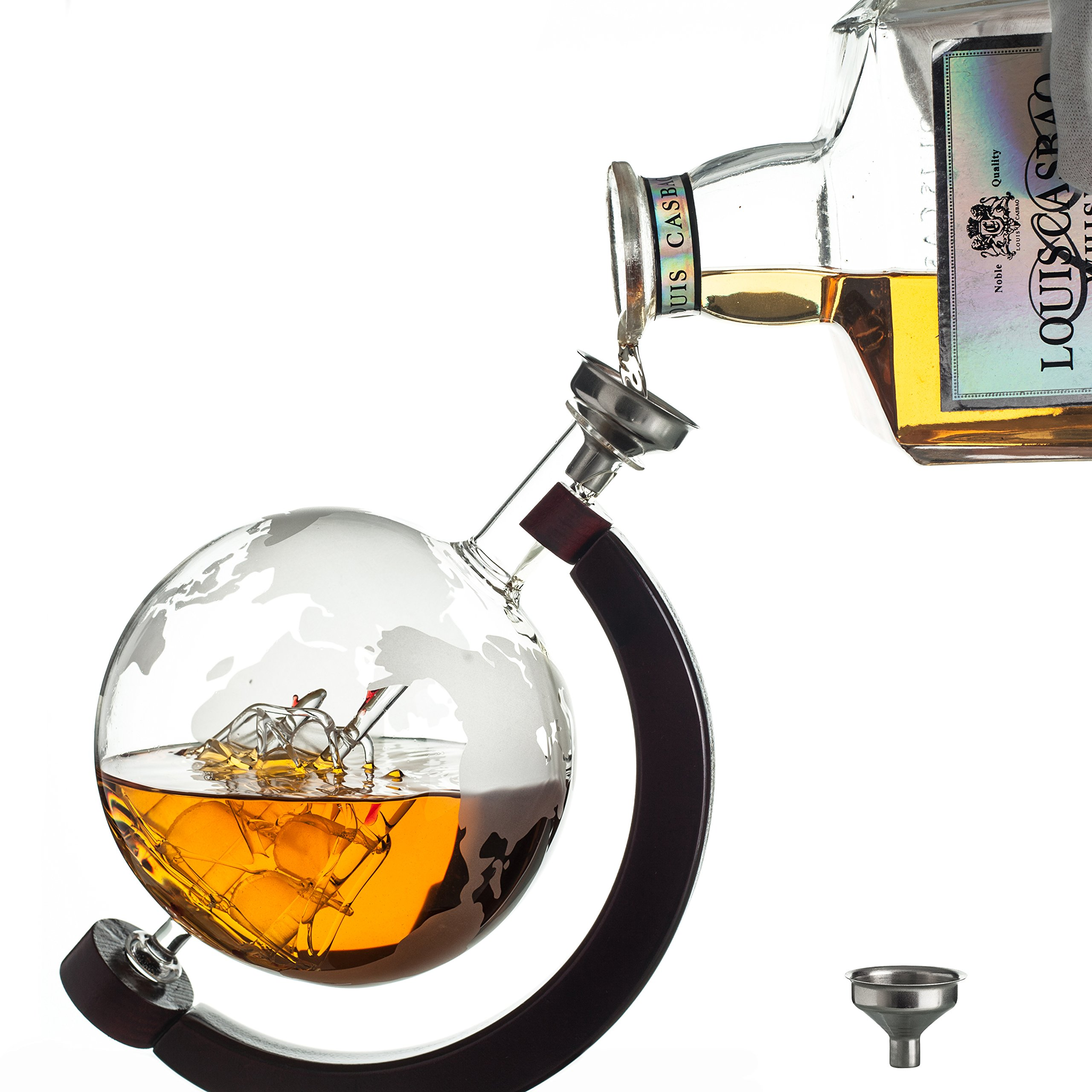 Whiskey Globe Decanter with Antique Dark Finished Wood Stand Bar Funnel 850ml Perfect Gift Set Scotch Liquor Bourbon Wine Vodka by ERAVINO (Image #2)