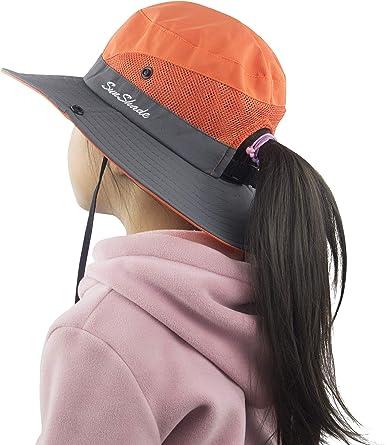 Muryobao Women Ponytail Summer Sun Hat Wide Brim UV Hats Floppy Bucket Cap for
