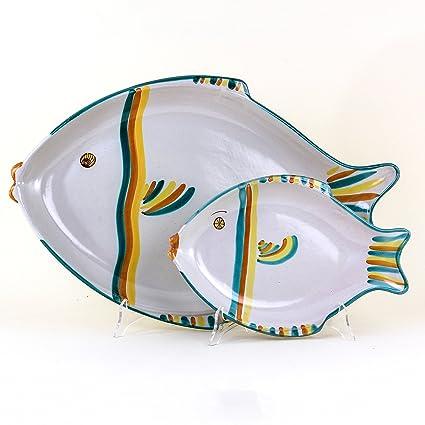 Servizio Di Piatti Da Pesce X 6 In Ceramica Artistica Di Caltagirone