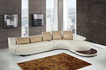 Global Furniture UFM208   SECTIONAL Blanche Sectional, Milky/Ivory