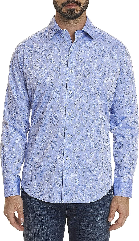 Robert Graham Hanging Gardens L/S Paisley Printed Woven Shirt Classic Fit Light Blue 2Xlarge