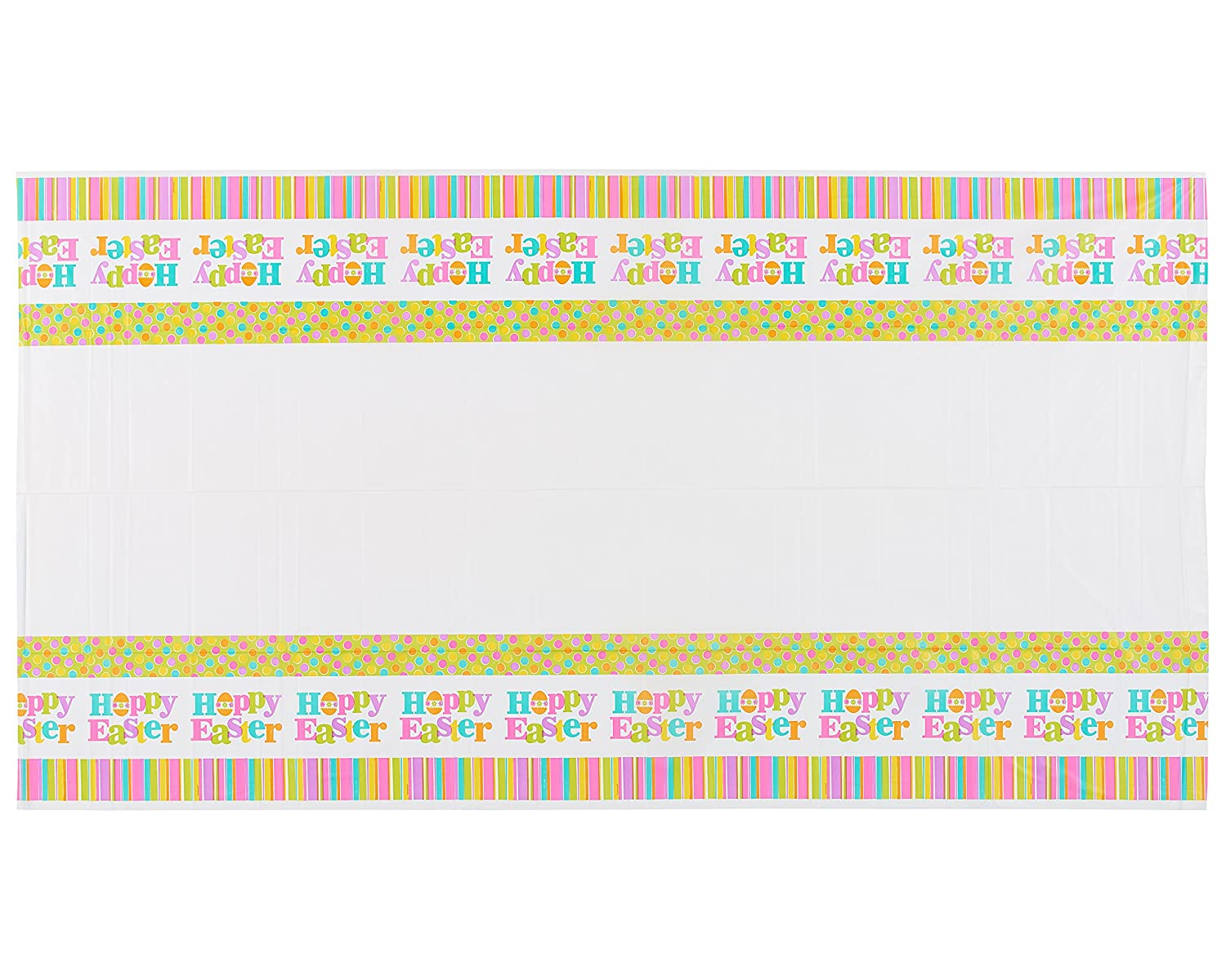American Greetings Hoppy Easter Plastic Table Cover, 54' x 102', Party Supplies, Multicolored