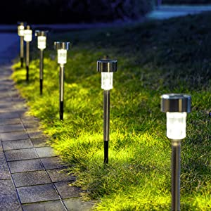 GIGALUMI Solar Pathway Lights 12 Pack, Stainless Steel IP44 Waterproof Auto On/Off Outdoor LED Pathway Landscape Solar Lights for Garden, Yard, Patio, Path and Walkway. (Cold White)