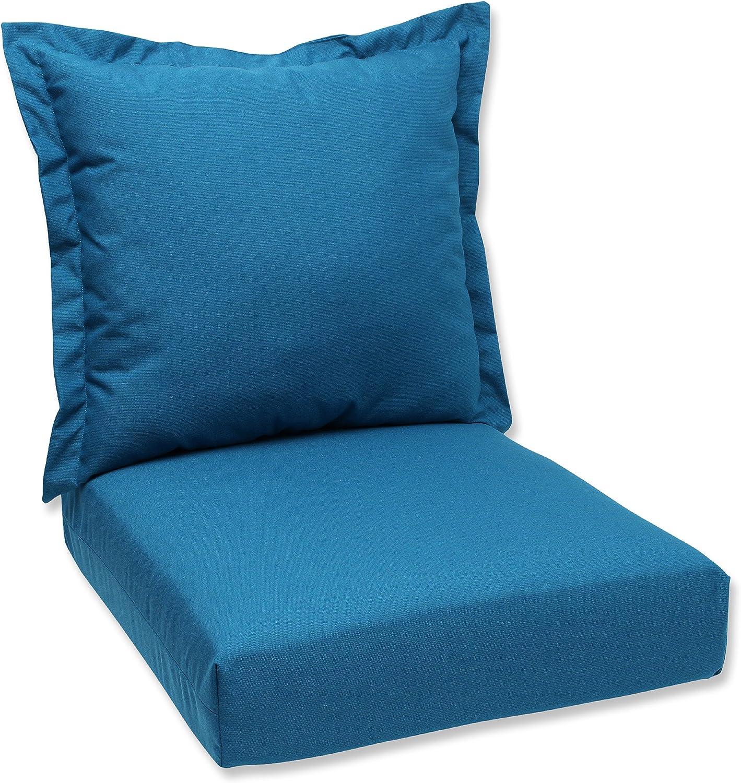 Pillow Perfect Sunbrella Canvas Indoor/Outdoor Deep Seating Cushion Set, Spectrum Peacock