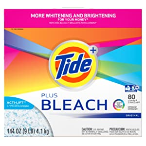 Tide Plus Bleach Powder Laundry Detergent, Original, 80 Loads, 144 Ounce