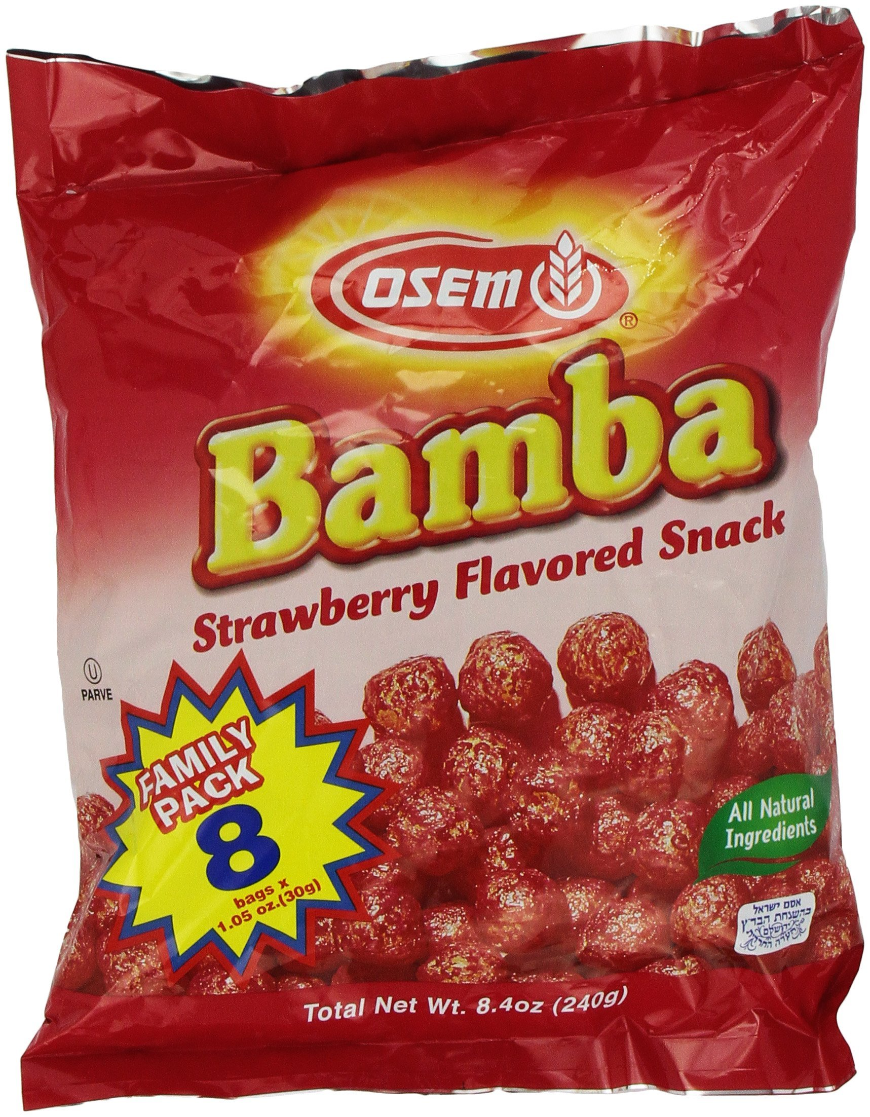 Bamba Strawberry Snacks All Natural Sweet Red Strawberry Bamba Corn Puffs,1.05oz, Family Pack of 8 Bags (Pack of 1)