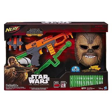 Star Wars Episodio VII Chewbacca Nerf Bowcaster con 15 Dardos & Máscara electrónica