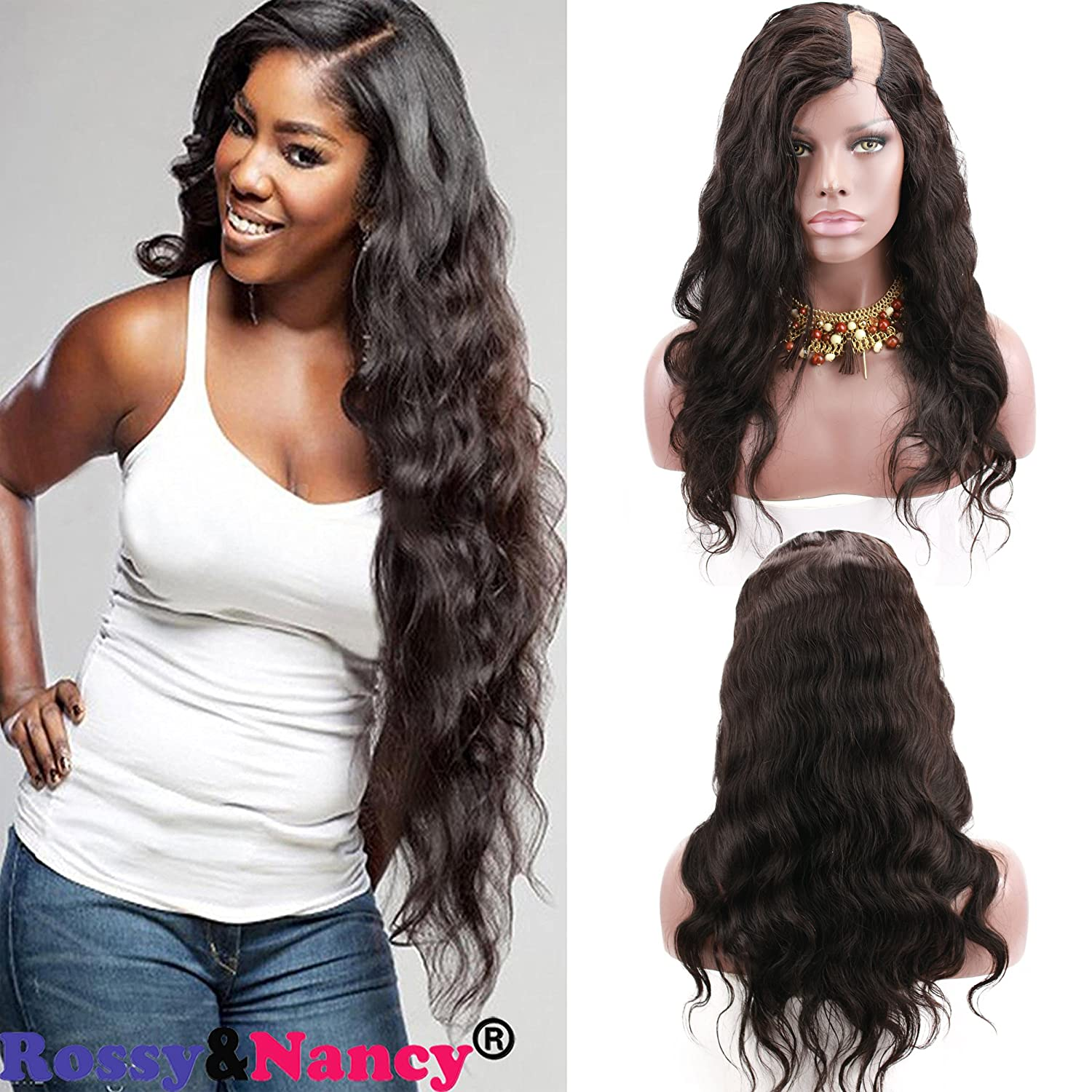 bb27ad0b9 Amazon.com : Rossy&Nancy Cheap Human Hair Left U Part Body Wave Lace Front  Wig For Black Women Natural Black Color 18inch : Beauty