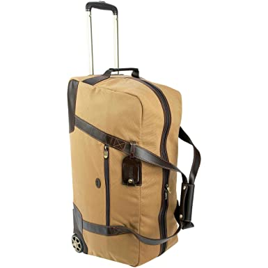 daad62155af6 Image Unavailable. Image not available for. Color  Baron Country Canvas    Leather Wheeled Duffel Bag