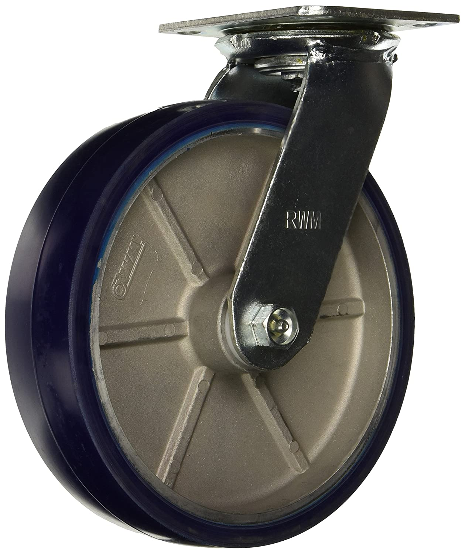 2-1//2 Wheel Width 4-1//2 Plate Width 9-3//4 Mount Height 6-1//2 Plate Length Roller Bearing 8 Wheel Dia Rigid Phenolic Wheel RWM Casters Economy 52 Series Plate Caster 1400 lbs Capacity
