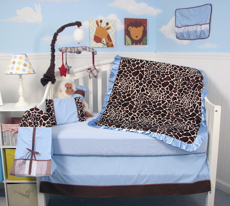 SoHo Baby Crib Bedding 10Pc Set, Blue Giraffe