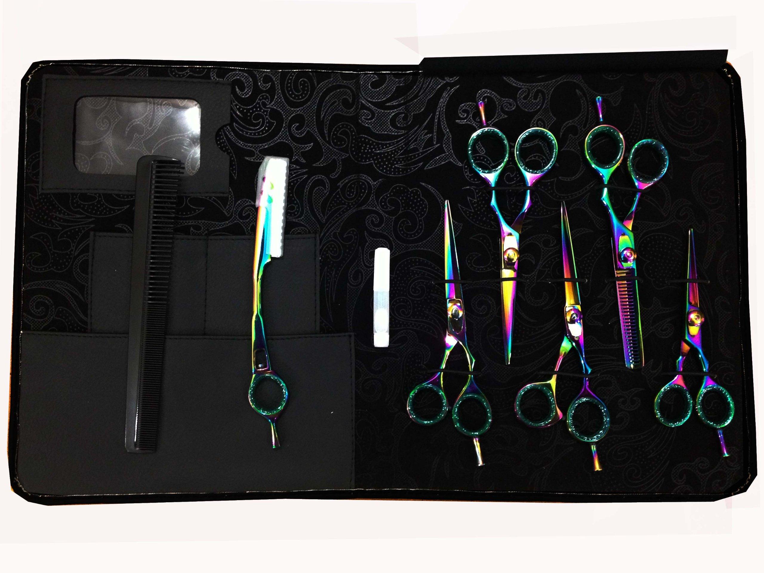 ZZZRT Multi Color (Complete Students & Barber Kit) Japanese J2 Stainless Steel Pro Razor edge Barber Hair cutting scissors shears Barber Thinning Scissors Shears And Hair Thinning Razor with Comb + Free scissors Lubricant & scissors insert rings by ZZZRT traders