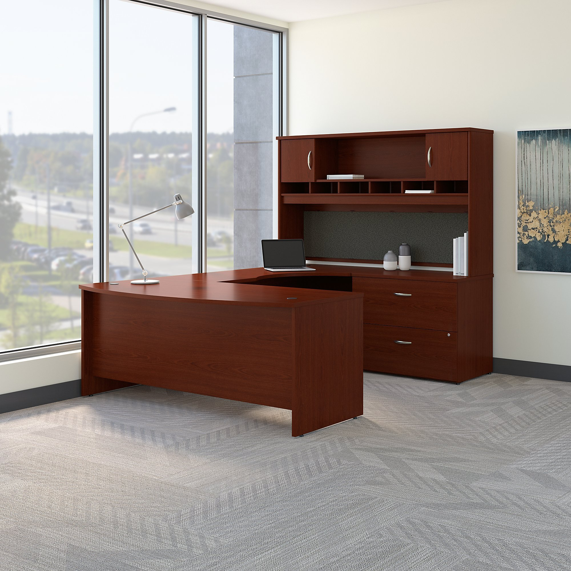 Bush Business Furniture Series C 72W Right Handed Bow Front U Shaped Desk with Hutch and Storage in Mahogany
