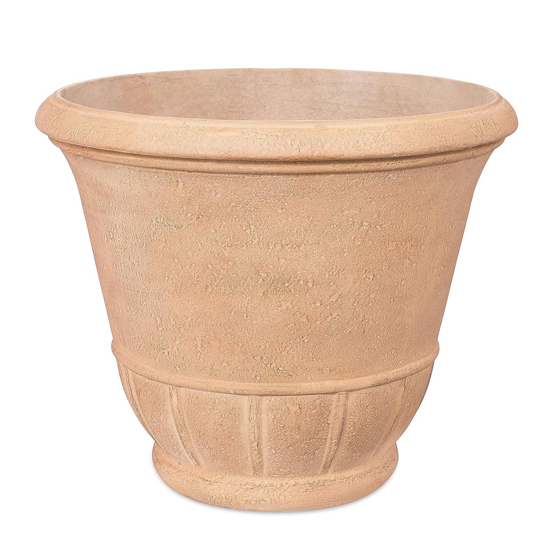 "BirdRock Garden 16.25"" Tempo Plant Flower Pot - Aged Ivory - Indoor Outdoor Planter Urn - Plants"