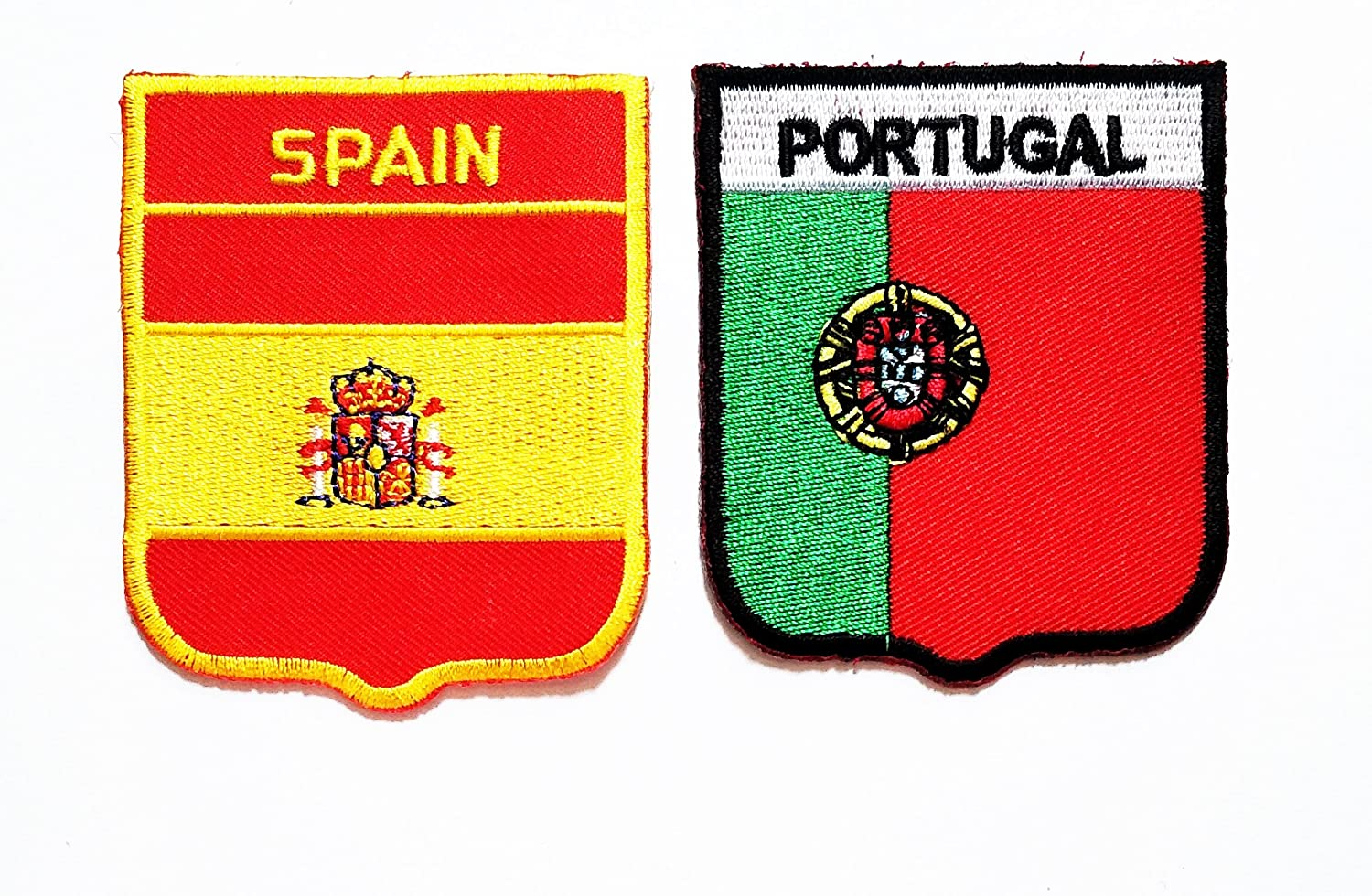 Set Of 2 Portugal Crest Iron On Badge For Fabric Material