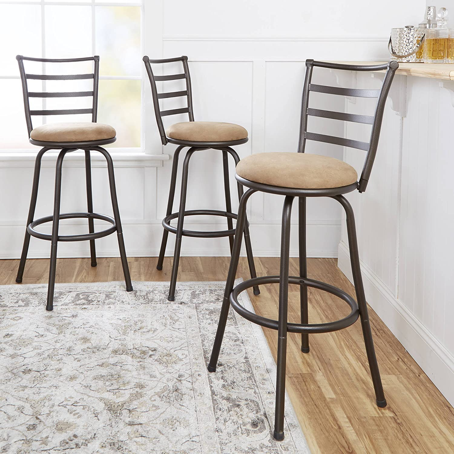 Mainstay Adjustable Height Swivel Barstool Hammered Bronze Finish Set Of 3 Tan Kitchen Dining Amazon Com