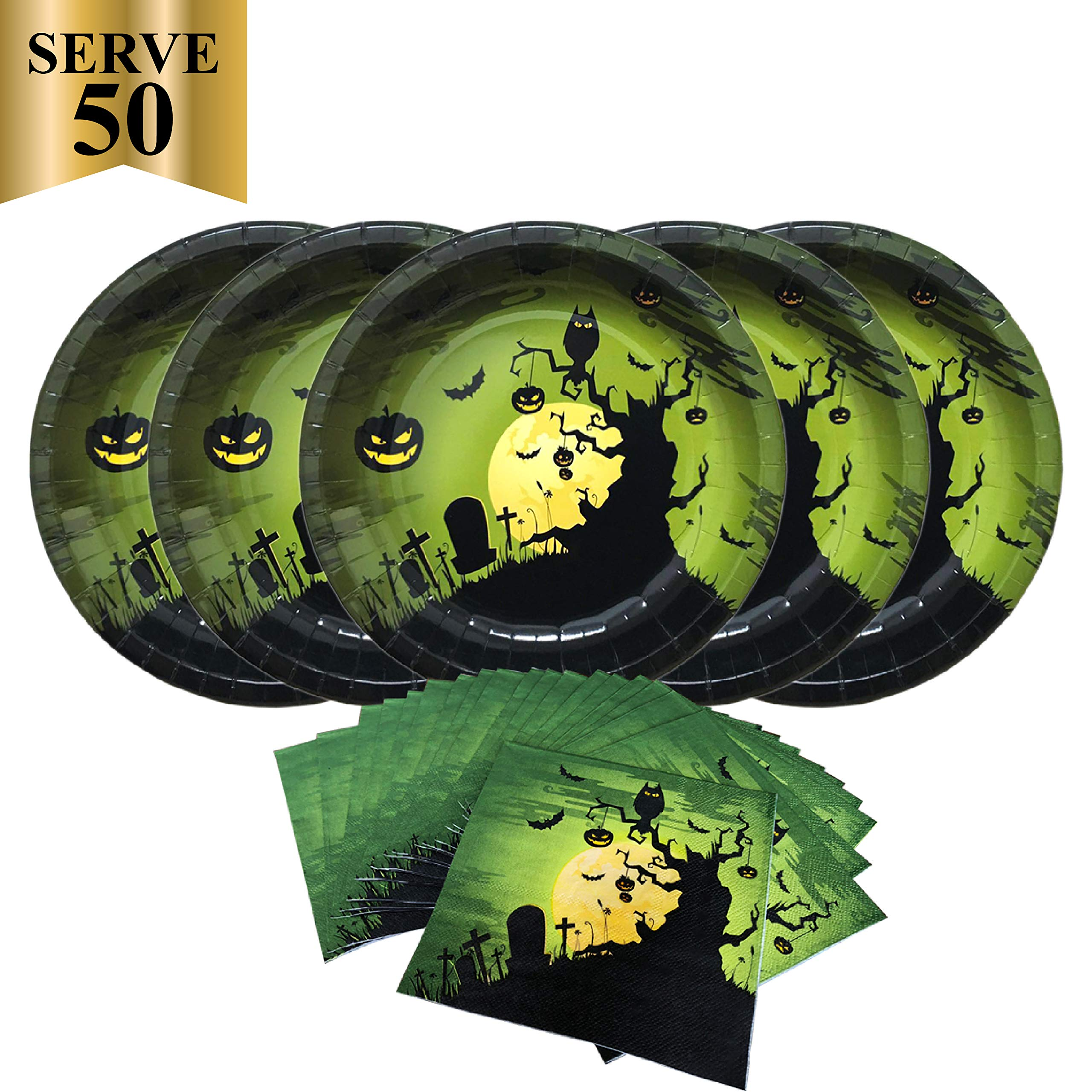 Halloween Creepy Haunting Midnight Paper Party Pack-Serves 50- Includes 10 Inches Big Paper Plates and Luncheon Napkins by Gatherfun
