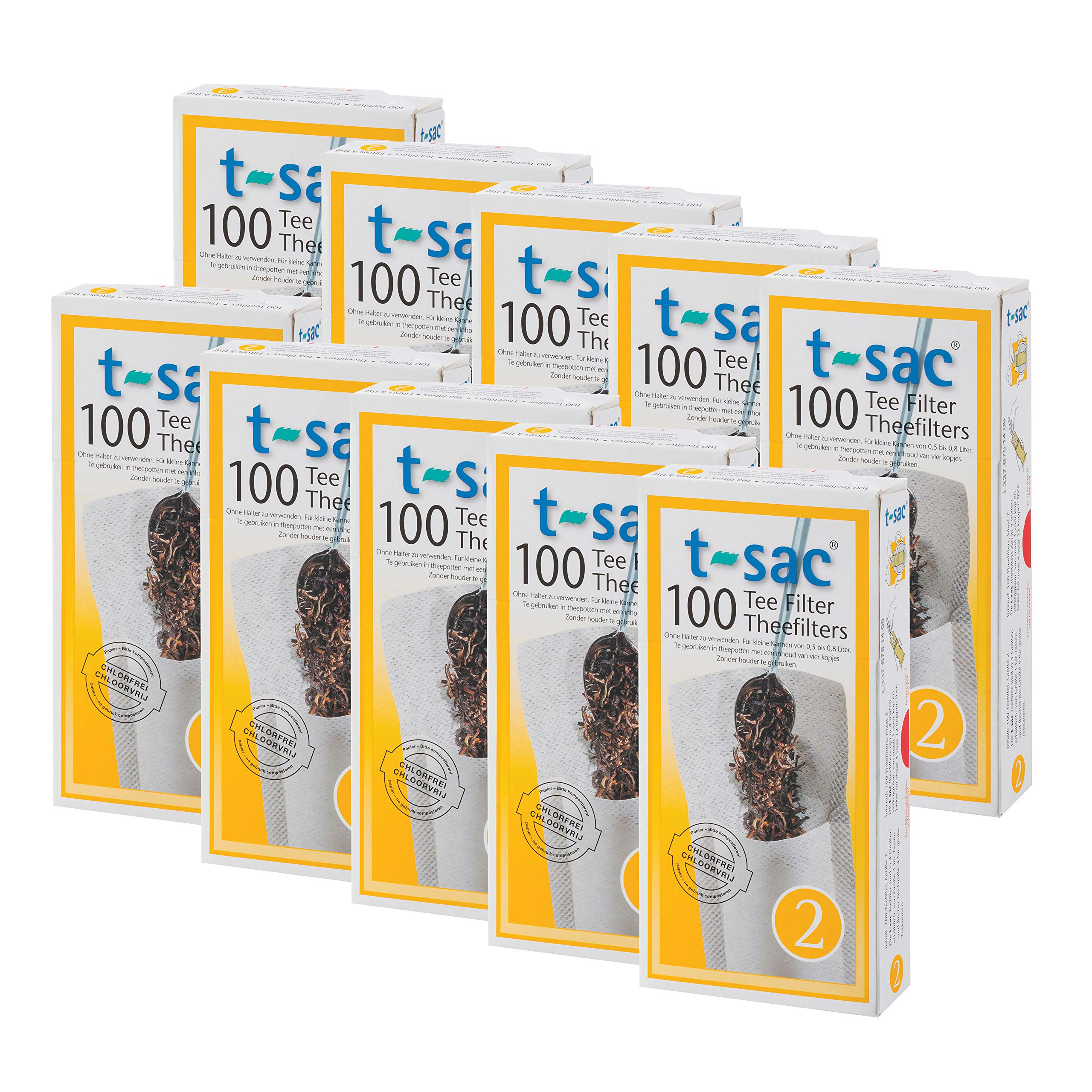 T-Sac Tea Filter Bags, Disposable Tea Infuser, Number 2-Size, 2 to 4-Cup Capacity, Set of 1,000 by T-Sac