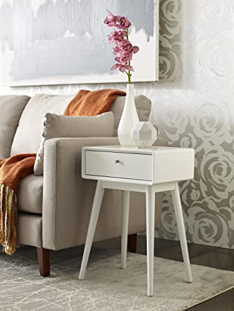 Peachy Elle Decor Rory One Drawer Side Table White Home Interior And Landscaping Ologienasavecom
