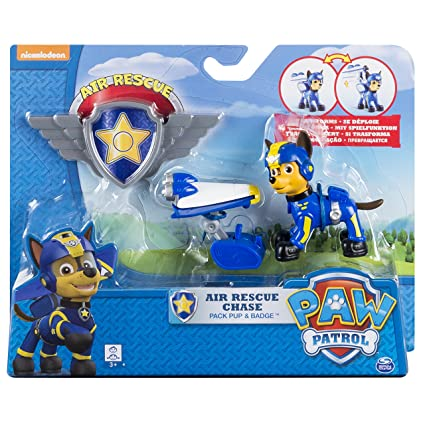 Amazon Com Paw Patrol Air Rescue Chase Pup Pack Badge Toys Games