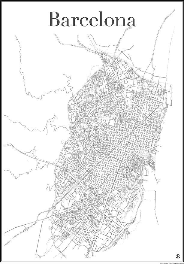 Barcelona – Mapa de ciudad, red de póster de carretera, el arte de impresión, Mostrando exclusiva estructura Metropolitana de Barcelona, España, Bari gòtic, Casa batllò, Camp Nou, Palau de la mùsica Catalana,