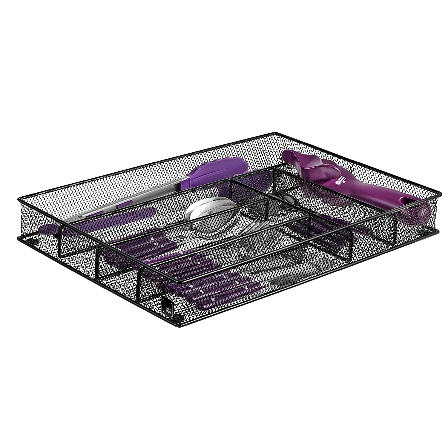 Cutlery Tray by Mindspace, 6 Compartments | Kitchen Utensil Silverware Tray | Flatware Drawer Organizer | The Mesh Collection, Black