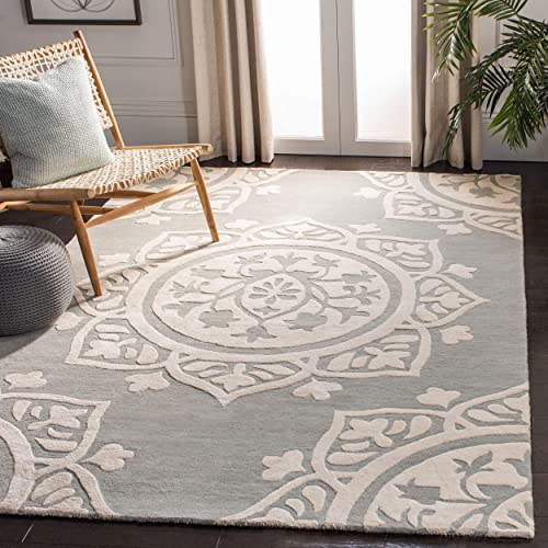 Safavieh Bella Collection BEL136A Handmade Grey and Ivory Premium Wool Area Rug 8' x 10'