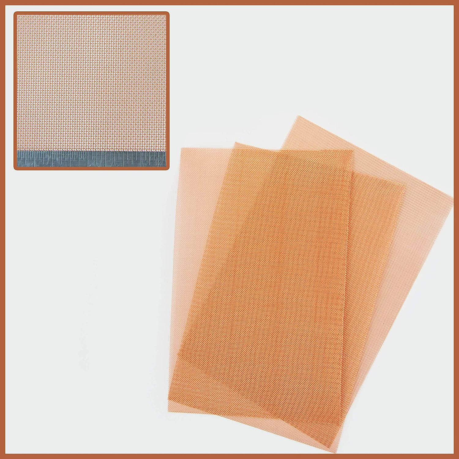 Coarse #30 Natural Copper Mesh (0.567mm Hole x 0.28mm Wire) 3 Pack = A5 150 x 210mm x 3 The Mesh Company