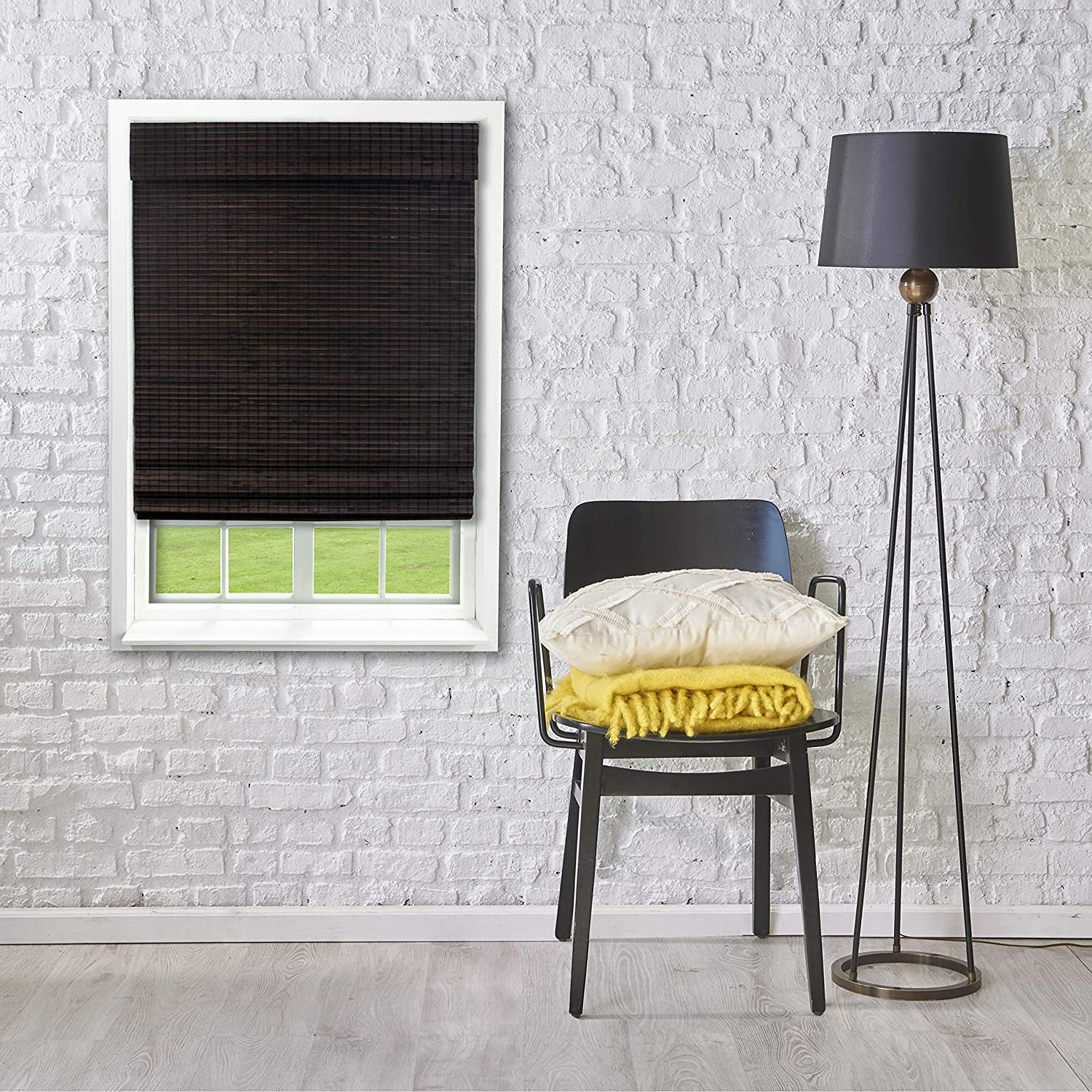 Lewis Hyman Radiance Cordless Bamboo Privacy Weave Roman Shade, 27 x 48 in, Espresso