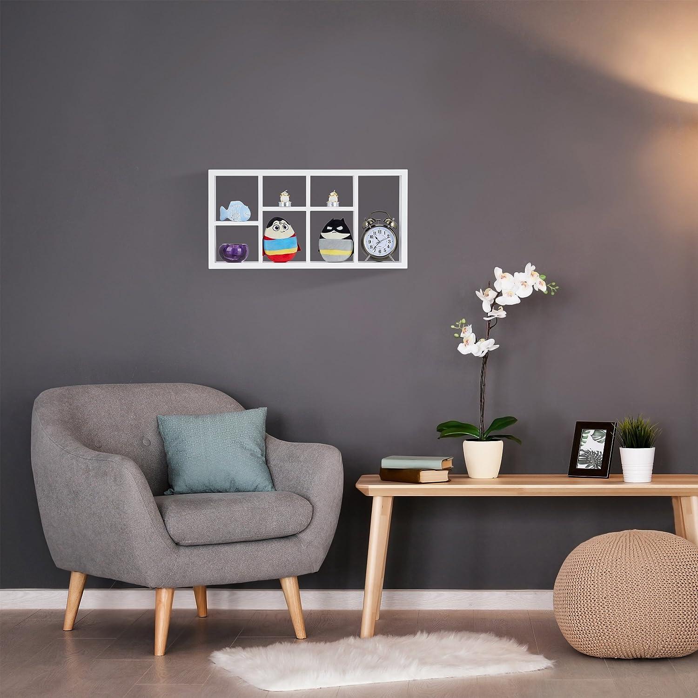 30.5 x 61 x 7.5 cm Blanco Relaxdays Estanter/ía Colgante con Compartimentos Madera MDF