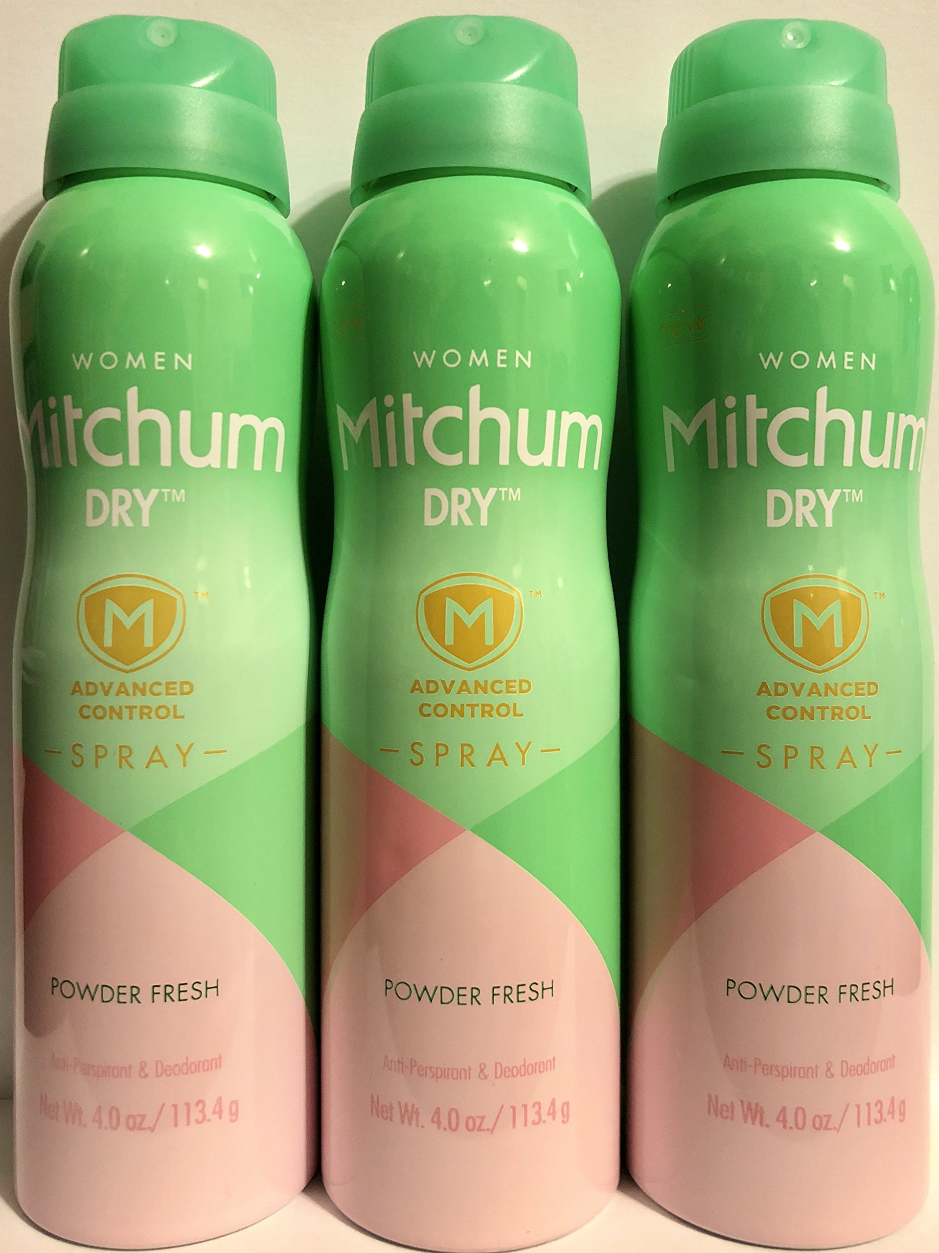 Mitchum Anti-Perspirant & Deodorant Dry Spray For Women - Powder Fresh - Net Wt. 4.0 OZ (113.4 g) Per Can - Pack of 3 Cans