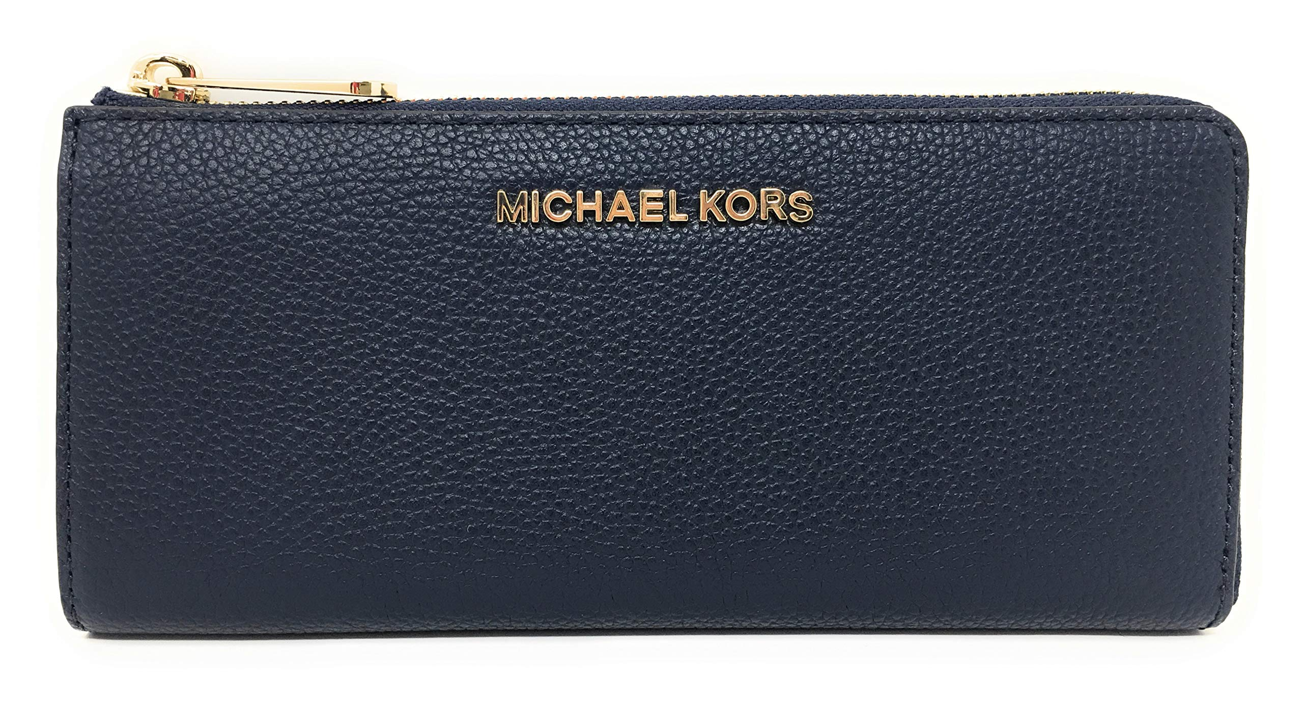 Michael Kors Jet Set Large Three Quarter Zip Around Pebbled Leather Wallet (Navy with Gold Hardware)