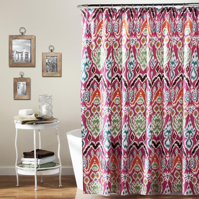 Amazon lush decor jaipur ikat shower curtain 72 x fuchsia for Best home decor on amazon
