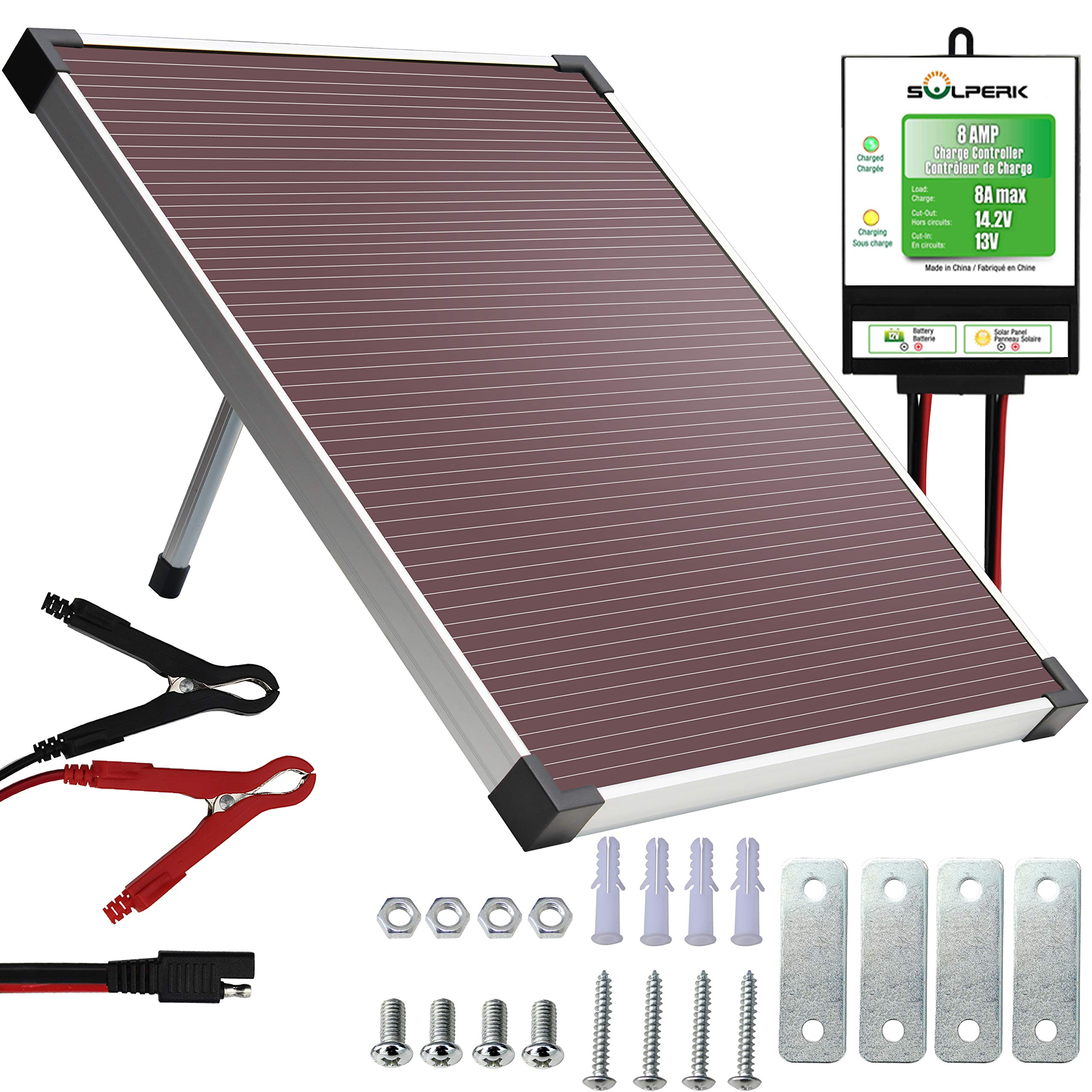 SOLPERK 12V Solar Panel,Solar trickle Charger,Solar Battery Charger and Maintainer,Suitable for Automotive, Motorcycle, Boat, ATV,Marine, RV, Trailer, Powersports, Snowmobile, etc. (20W Amorphous) by SOLPERK
