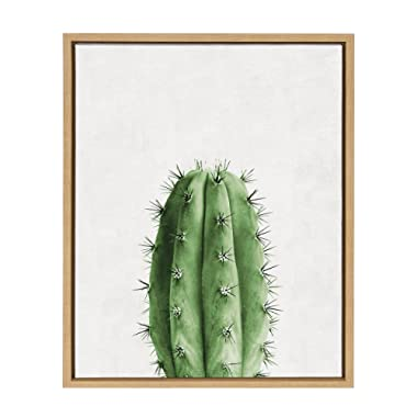 Kate and Laurel Sylvie Home Cactus Framed Canvas Art by Simon Te Tai 18x24 Natural