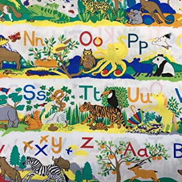 Abc Alphabet Childrens Nursery Jungle Safari Animals Print 100
