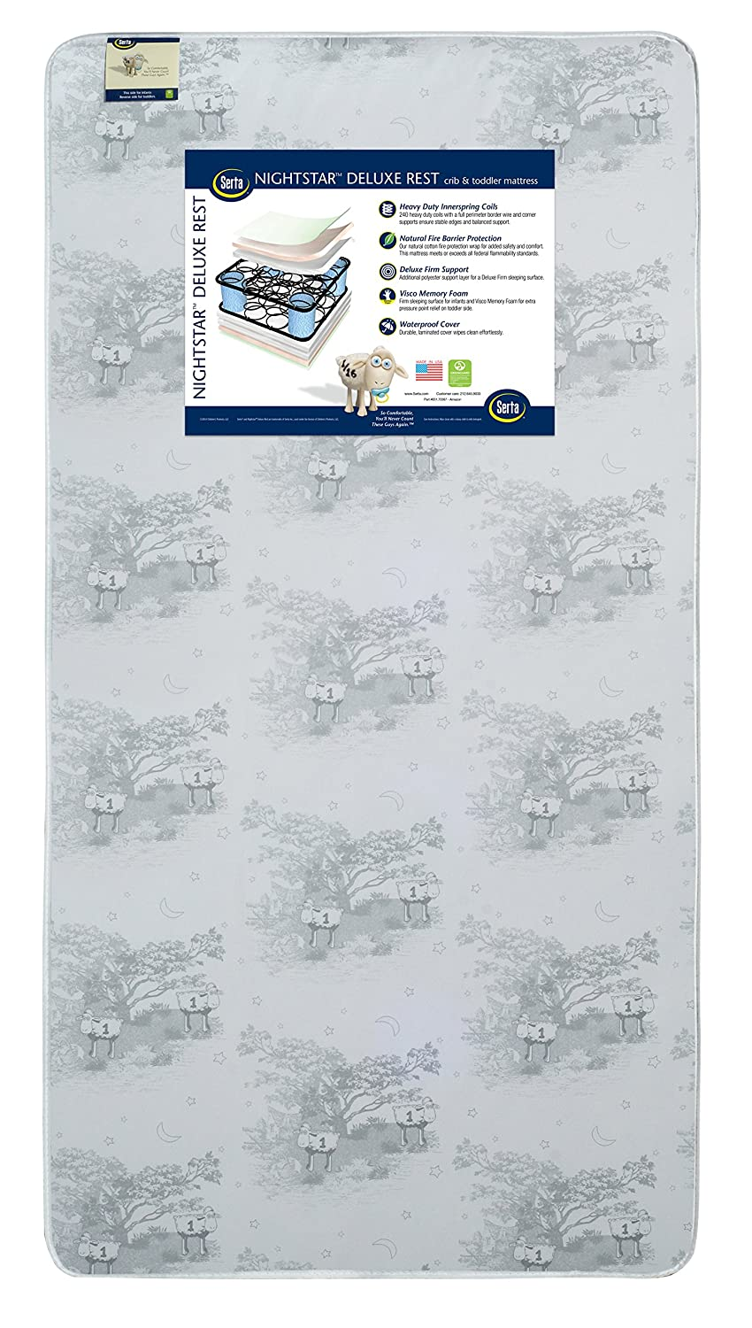 amazon com serta nightstar deluxe rest crib and toddler mattress