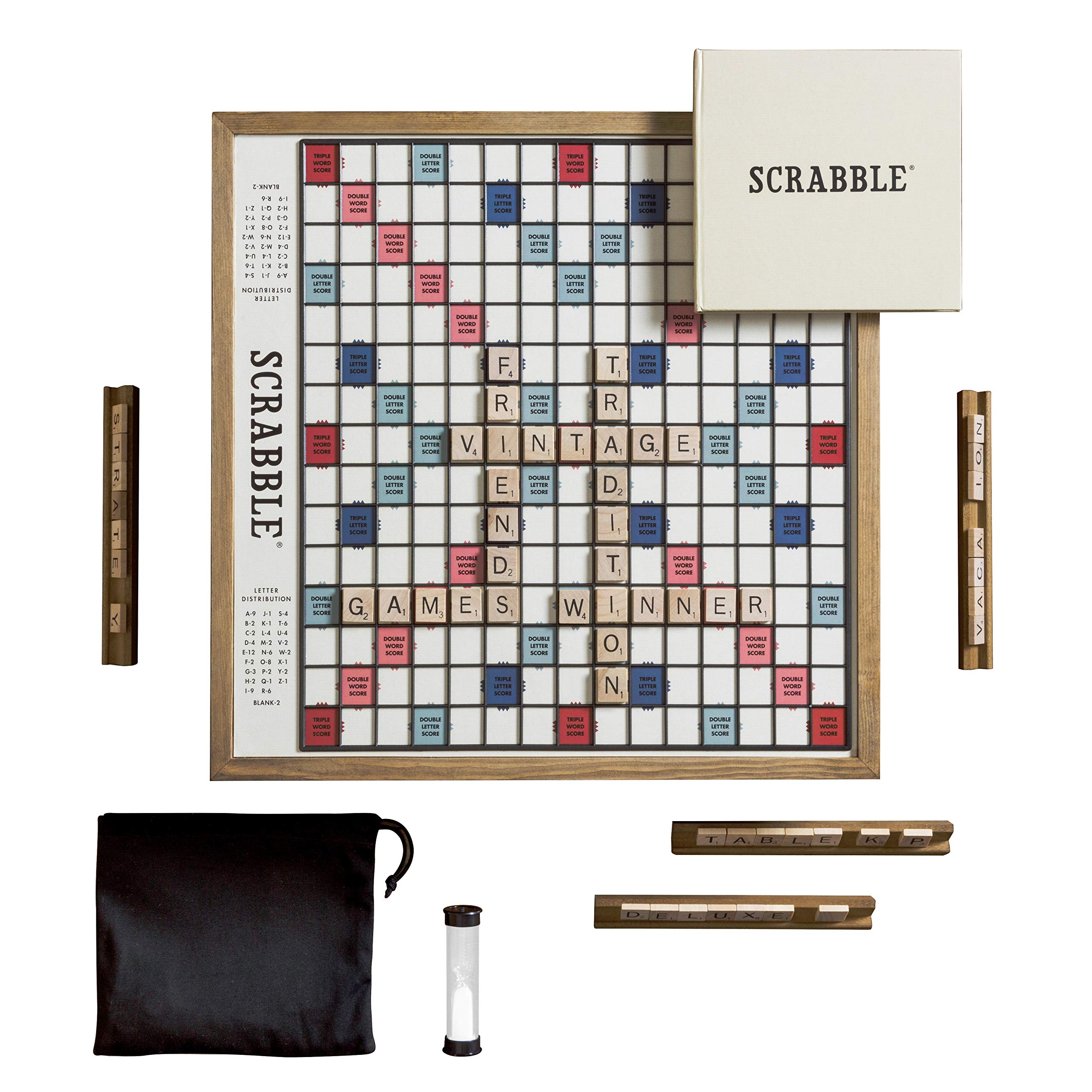 Scrabble Deluxe Vintage Edition with Rotating Game Board