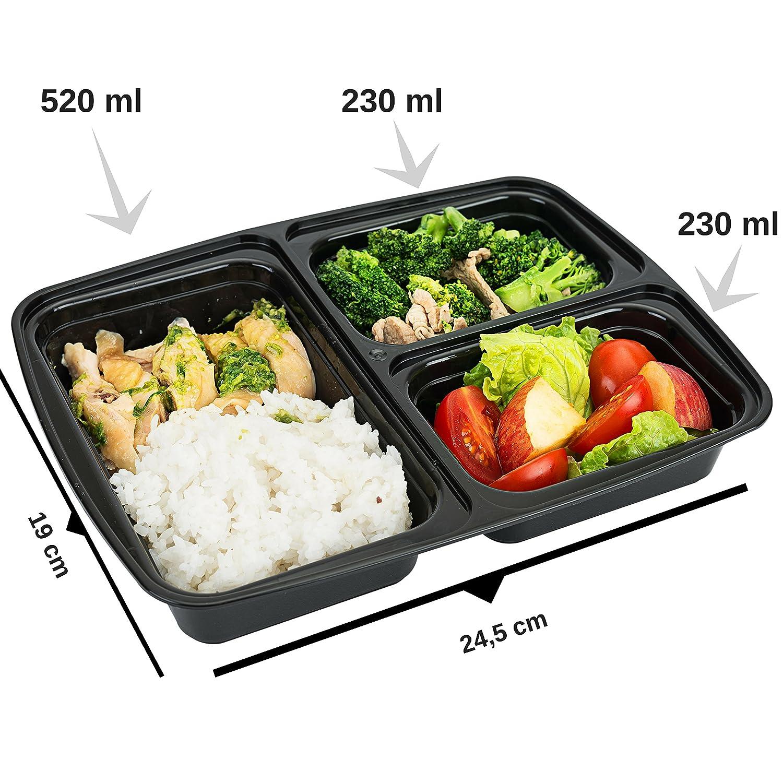 Original de FITPREP® [Pack de 10] Contenedor de alimentos con 3 compartimentos para comida preparada Meal Prep Container | Modelo: FP31-C | Estable, ...