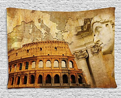 Jake Sawyers Stile Retro Impero Romano Concept Famous Colonne Sculptress Colosseo Mappa La Nazione Stampa Da