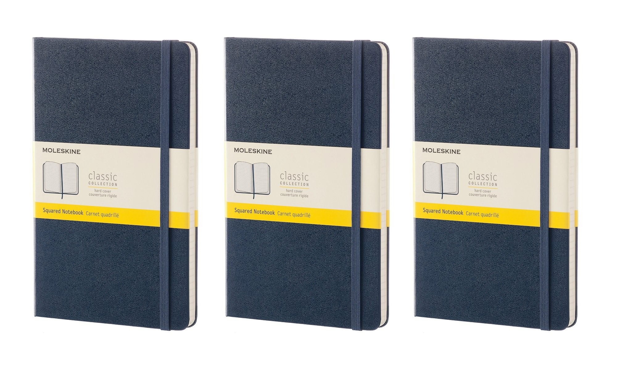 Pack of 3 Moleskine Classic Notebook, Sapphire Blue, Large, Squared, Hard Cover (5X8.25'')