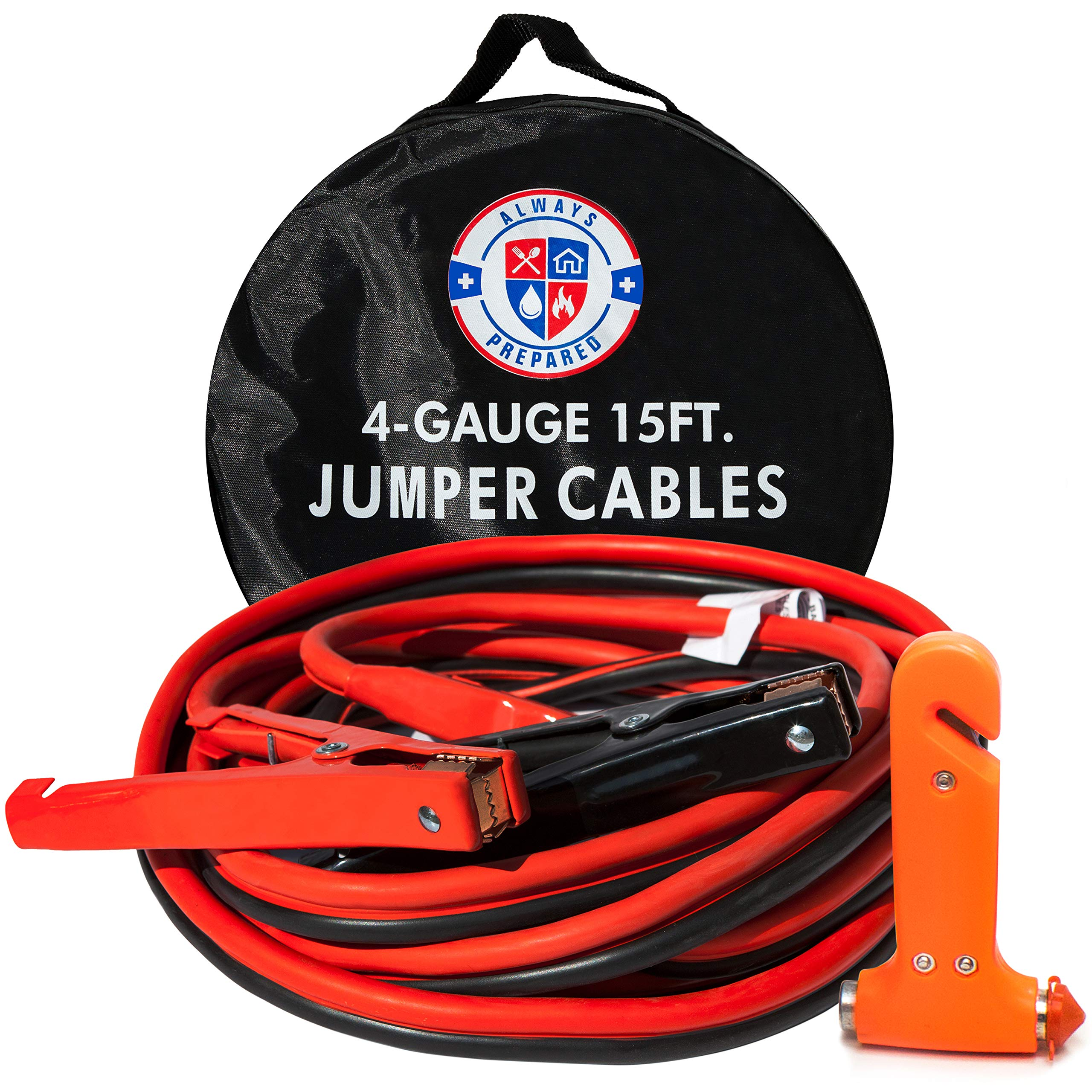 33742a676b3 15ft 4 Gauge Jumper Cables with Storage Case – Insulated Heavy Duty Jumper  Cables & Roadside